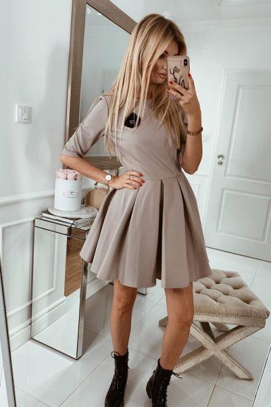 Cocomore beżowa bawełniana sukienka rozkloszowana 40