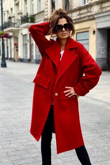 By o la la czerwony płaszczyk uniwersalny rozmiar