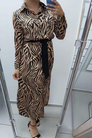 Cocomore długa sukienka we wzór zwierzęcy rozpinana 40