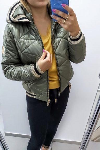 By o la la pikowana kurtka khaki na jesień złote lampasy S