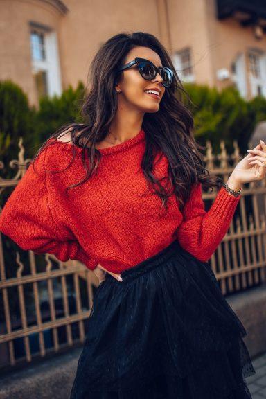 Cocomore sweter rulon czerwony