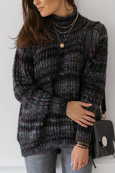 Cocomore sweter szary z kolorową włóczką multikolor