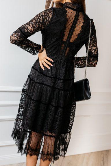 Cocomore czarna koronkowa sukienki midi 36 hit na święta