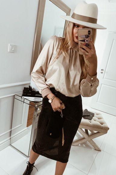Cocomore dopasowana satynowa beżowa bluzka 38 M
