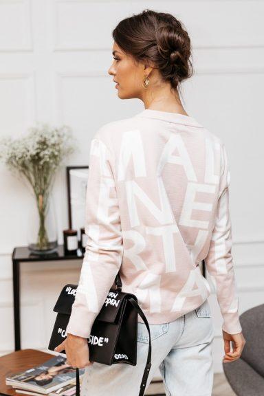 Cocomore sweter pudrowy róż w białe litery