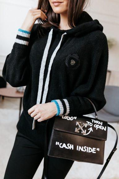 Cocomore czarny sweter nietoperz z kapturem