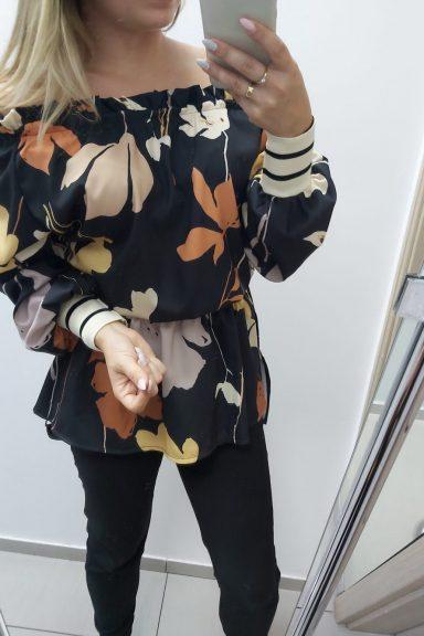 By o la la bluzka tunika kwiaty liście S 36