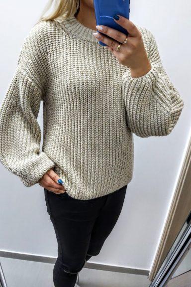 Cocomore sweter beżowy lurex bufiaste rękawy