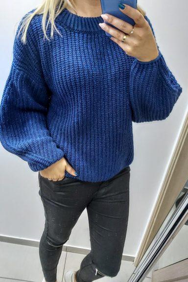 Cocomore sweter granatowy lurex bufiaste rękawy