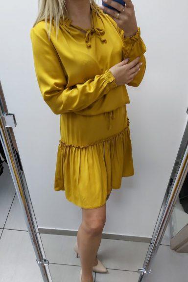 TMC musztardowa sukienka rozkloszowana