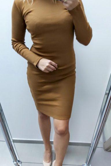 TMC karmelowa sukienka dopasowana po ciele