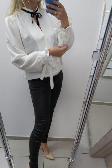 By o la la biała koszula z wiązanym dekoltem M 38