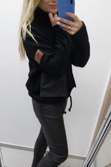 By o la la bluza czarna z ortalionowymi kieszeniami S 36