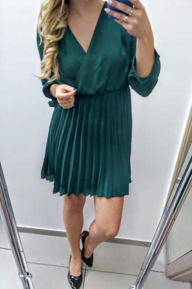 Lola Fashion zielona sukienka dół plisowany L 40