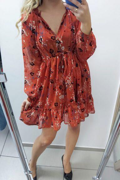 By o la la czerwona kolorowa sukienka wiązana pod biustem falbanka na dole uni
