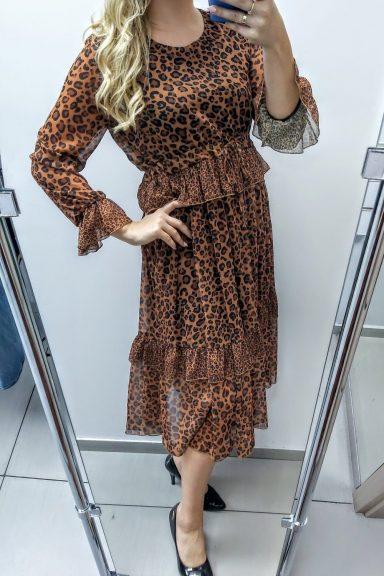 Purpura sukienka midi w panterkę 38 M