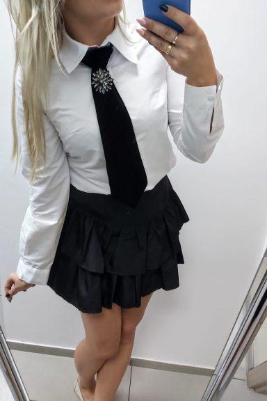 By o la la biała koszula z krawatką S 36