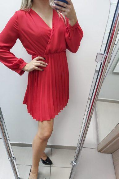 Lola Fashion czerwona sukienka dół plisowany M 38