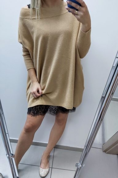 Cocomore sweter beżowy oversize tunika