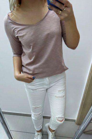 Minouu bawełniana różowa bluzka uni wiosenna kolekcja
