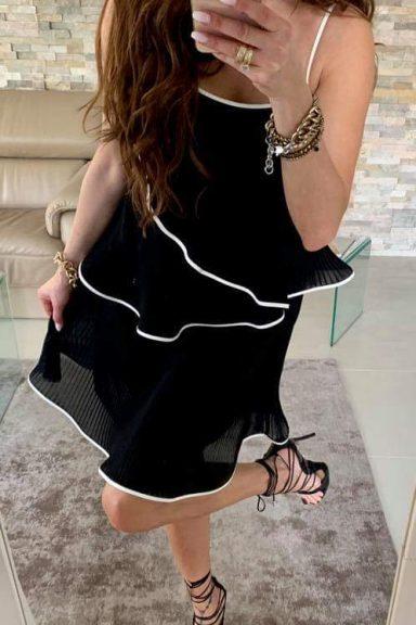 By o la la czarna plisowana sukienka M 38