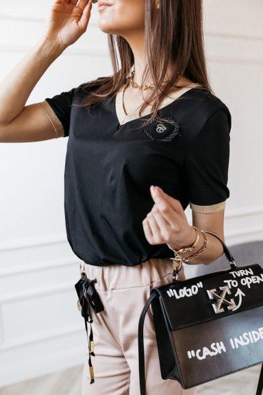 Cocomore bawełniana czarna bluzka ze złotymi obszyciami i dekoltem V 38 M