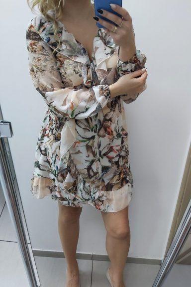 O.N.E sukienka wzorzysta beżowa