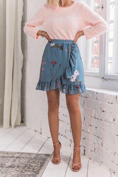Cocomore błękitna spódnica w kwiaty 38 M