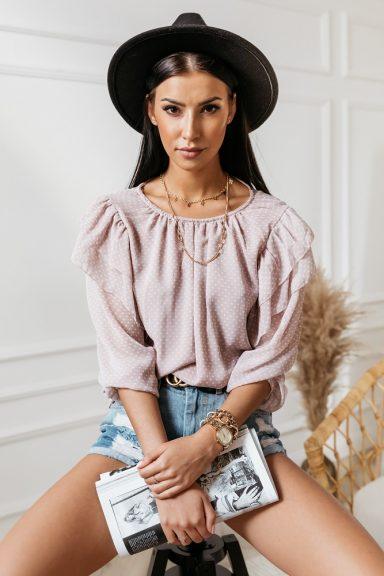 Cocomore różowa bluzka w białe grochy 40 L