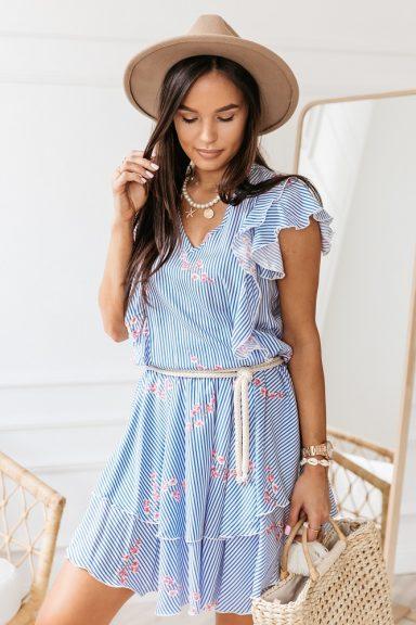 Cocomore biało niebieska w paski sukienka S kwiaty