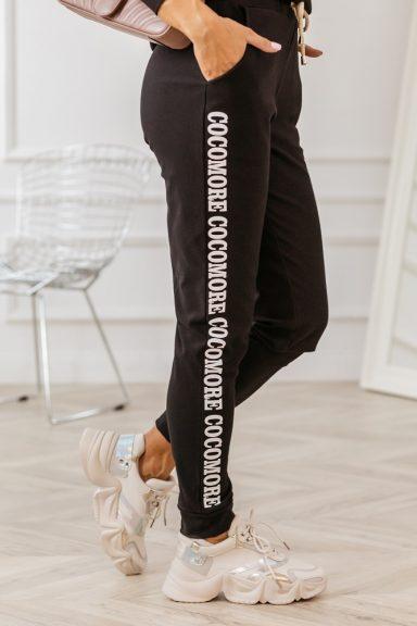 Cocomore czarne spodnie z białym lampasem L dres