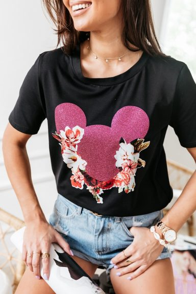 Cocomore czarna bluzka aplikacja Myszka Miki 40 L
