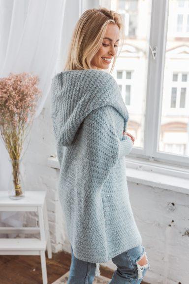 Cocomore błękity sweter kardigan bukla z kapturem