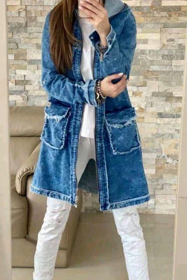 By o la la jeansowy logowany płaszcz S 36