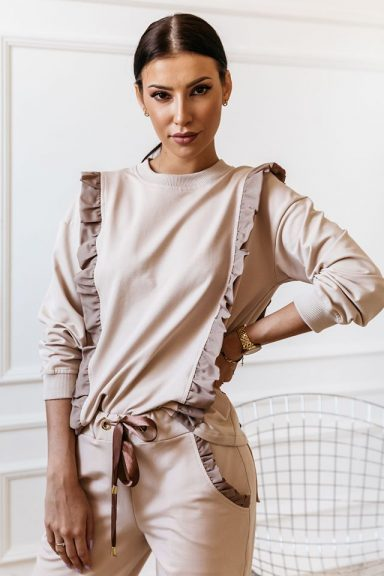 Cocomore beżowa bluza falbanki S 36 komplet zestaw
