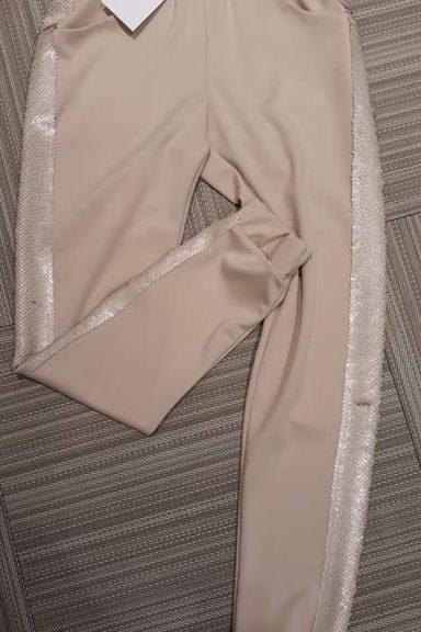 By o la la beżowe spodnie z cekinami bojówki M 38