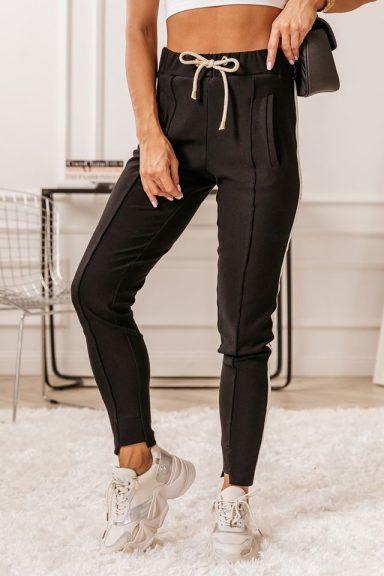 Cocomore czarne spodnie z lampasem 38 M do bluzy