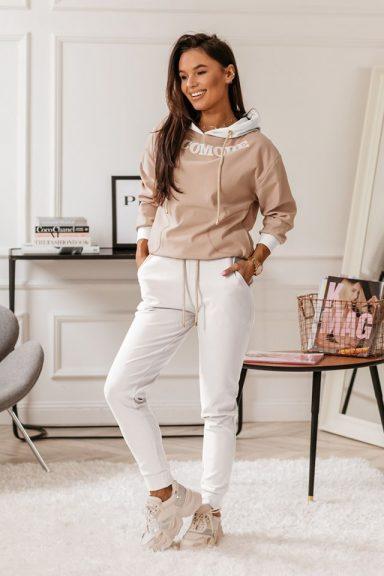 Cocomore białe spodnie z lampasem 40 L do bluzy