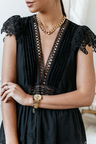 Cocomore czarna ażurowa sukienka 36 S hit koronka