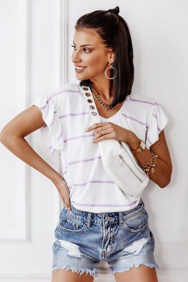 Cocomore lila biała bluzka T-shirt paski L 40