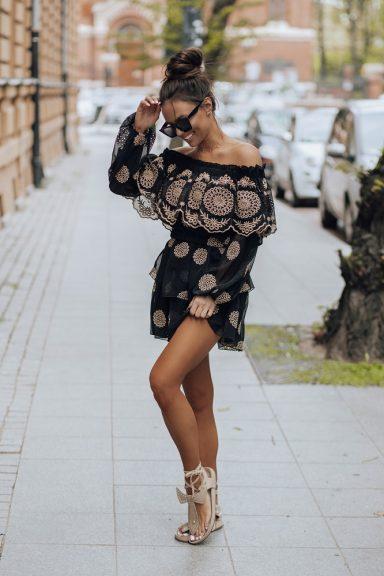 Cocomore czarna spódnica haft gipiura komplet L 40