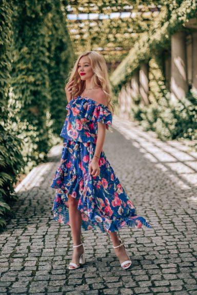 Cocomore sukienka kwiaty hiszpanka asymetryczna L