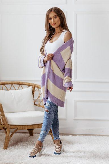 Cocomore sweter kardigan LILIOWY FIOLET ECRU uni