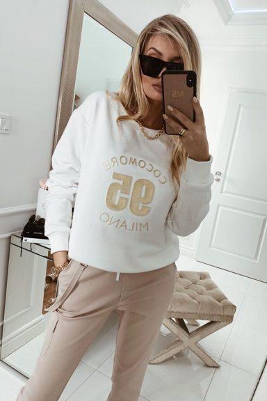 Cocomore biała bluza złoto napis Milano M/L