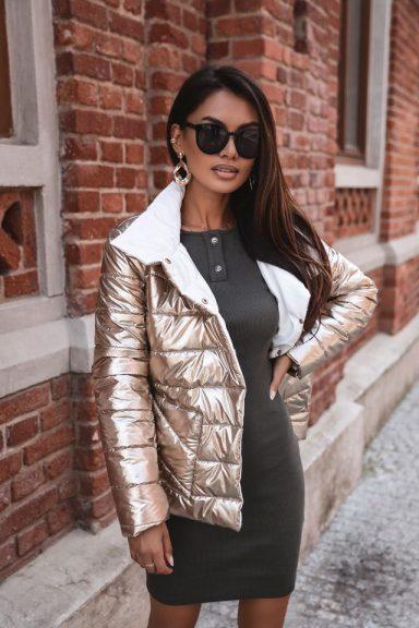 Cocomore złota kurtka pikowana białe podbicie M
