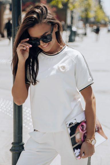 Cocomore białe spodnie dresowe lampas siateczka M