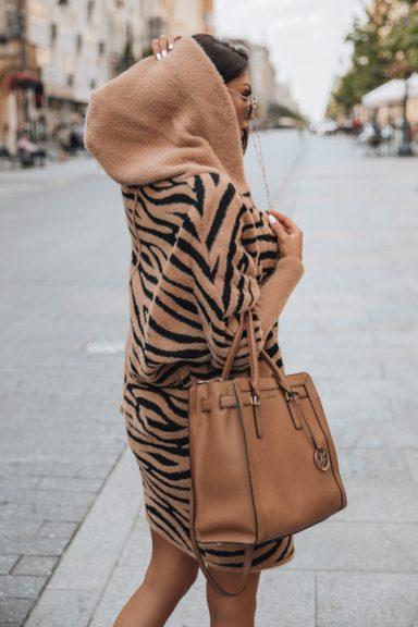 Cocomore czarny beż czerń płaszcz zebra alpaka
