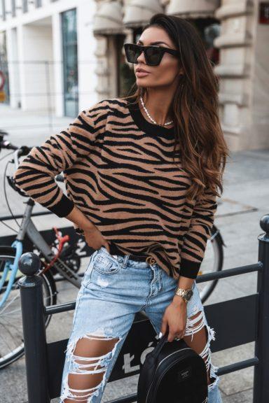 Cocomore sweter czarny karmel czerń zebra uni