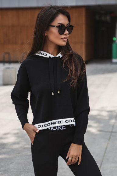 Cocomore bluzka czarna sweter lampas spodnie uni