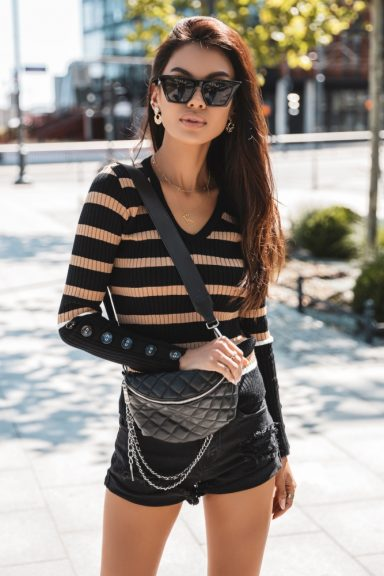Cocomore bluzka sweter paski guziki karmel czarny